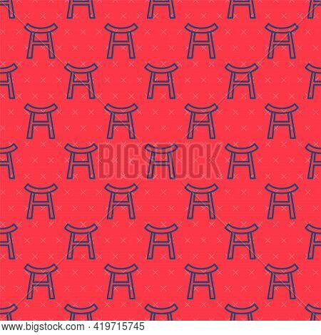Blue Line Japan Gate Icon Isolated Seamless Pattern On Red Background. Torii Gate Sign. Japanese Tra