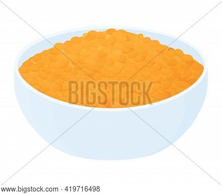 Bowl Full Of Red Lentils Isolated On White Background. Cartoon Vector Food Illustration.