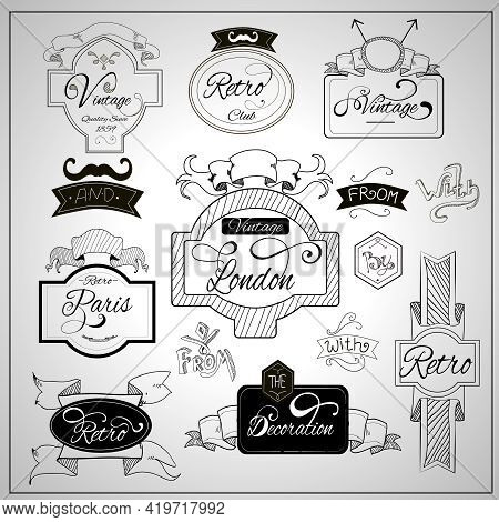 Retro Design Nostalgic Elements With Catchwords Ribbons And Moustaches On Whiteboard Black Felt Pen