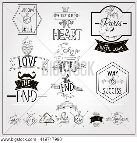 Retro Catchwords And Romantic Heart Love Emblem  On Whiteboard Black Felt Pen Doodle Style Abstract