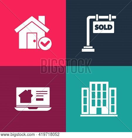 Set Pop Art House, Online Real Estate House, Hanging Sign With Sold And Check Mark Icon. Vector