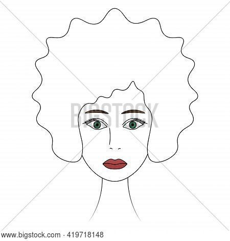 Womans Face. African American Lady. Sketch. Head Of A Girl With Green Eyes. Vector Illustration. Lus