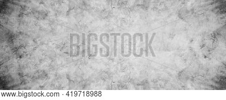 Grungy Cement Texture Wall, Gray Concrete Banner Background For Backdrop