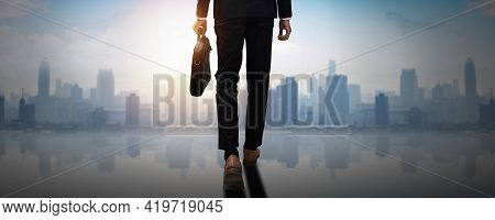Forward To Success, Back Of Confident Businessman Holding Business Document Bag Walk To Achievement,