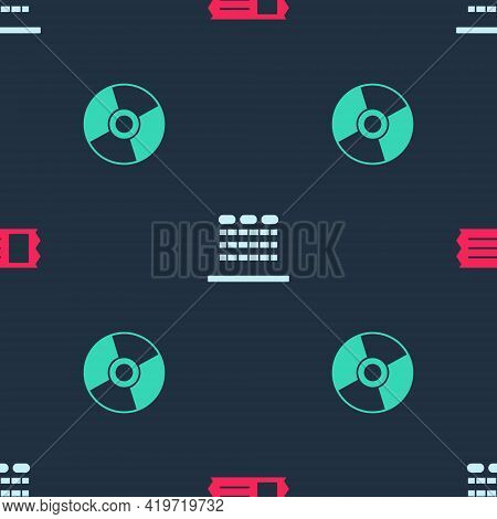 Set Cinema Ticket, Auditorium With Seats And Cd Dvd Disk On Seamless Pattern. Vector