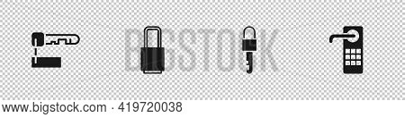 Set Marked Key, Lock, Locked And Digital Door Lock Icon. Vector