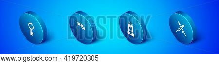 Set Isometric Old Key, Princess, Crossed Medieval Sword And Medieval Flag Icon. Vector