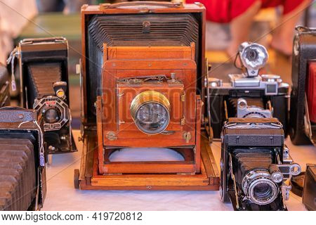 Barcelona - Spain. June 27, 2019: Retro Photo Cameras In The Vintage Market