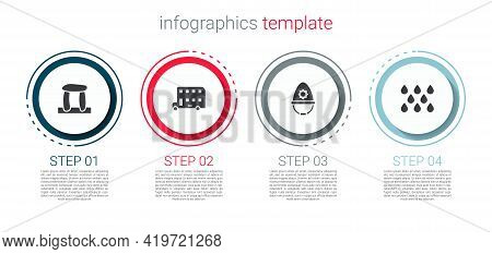 Set Stonehenge, Double Decker Bus, British Police Helmet And Water Drop. Business Infographic Templa