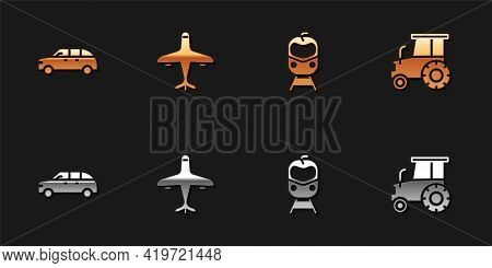 Set Hatchback Car, Plane, Train And Railway And Tractor Icon. Vector
