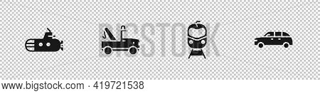 Set Submarine, Tow Truck, Train And Railway And Hatchback Car Icon. Vector