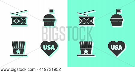Set Usa Independence Day, Drum And Drum Sticks, Patriotic American Top Hat And Cake Icon. Vector