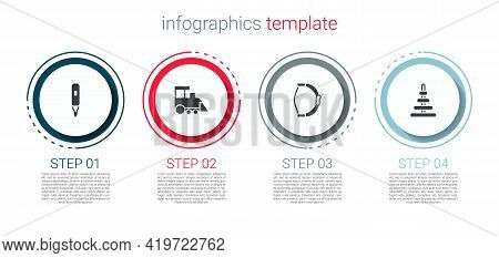 Set Marker Pen, Toy Train, Bow Toy And Pyramid. Business Infographic Template. Vector
