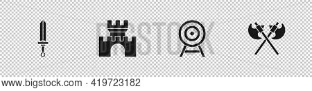 Set Medieval Sword, Castle, Fortress, Target With Arrow And Crossed Medieval Axes Icon. Vector