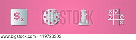Set Paper Cut Bingo, Twister Game, Chess And Tic Tac Toe Icon. Paper Art Style. Vector