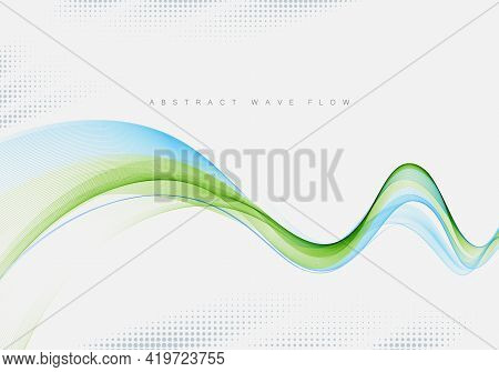 Abstract Background, Blue And Green Waved Lines For Brochure, Website, Flyer Design.