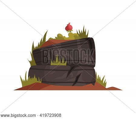 Cartoon Icon Of Abandoned Overgrown Flowerbed In Tyres Vector Illustration
