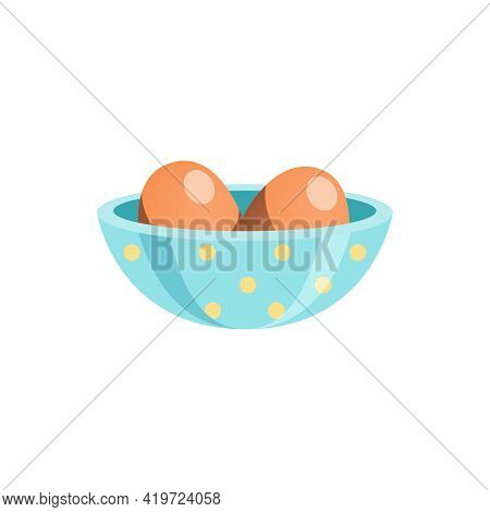 Bowl With Two Uncooked Chicken Eggs Flat Vector Illustration
