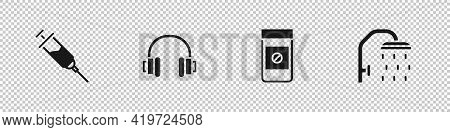 Set Doping Syringe, Headphones, Anabolic Drugs And Shower Head Icon. Vector