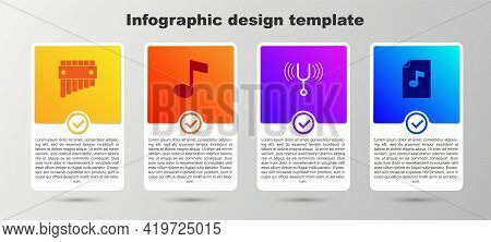 Set Pan Flute, Music Note, Tone, Musical Tuning Fork And Book With. Business Infographic Template. V