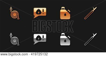 Set Fire Hose Reel, Telephone Call 911, Canister Fuel And Metal Pike Pole Icon. Vector