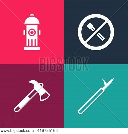 Set Pop Art Metal Pike Pole, Firefighter Axe, No Fire Match And Hydrant Icon. Vector
