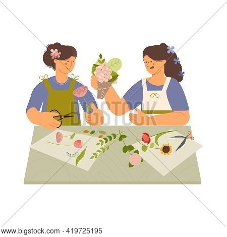 Floristics Flat Composition With Human Characters Of Female Florists At Table On Blank Background Ve