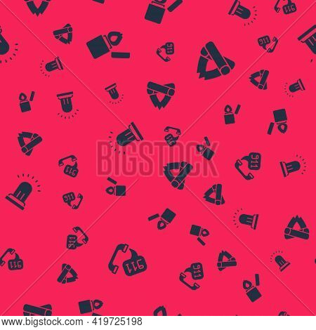 Set Telephone Call 911, Lighter, Ringing Alarm Bell And Campfire On Seamless Pattern. Vector