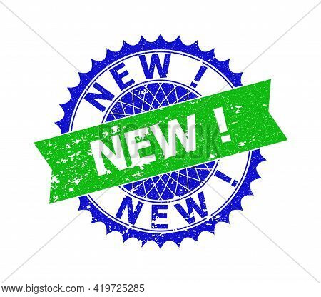 Vector New Exclamation. Bicolor Stamp Seal With Corroded Style. Blue And Green Colors. Flat Seal Sta