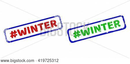 Vector Hashtag Winter Framed Imprints With Unclean Surface. Rough Bicolor Rectangle Stamps. Red, Blu