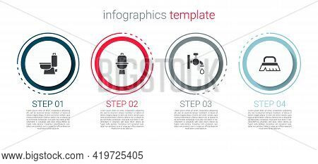 Set Toilet Bowl, , Water Tap And Brush For Cleaning. Business Infographic Template. Vector
