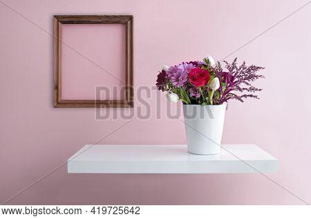 Flower Vase On A Floating Shelf Minimalist Interior Design With Blank Picture Frame