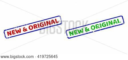 Vector New And Original Framed Rubber Imitations With Grunge Texture. Rough Bicolor Rectangle Stamps