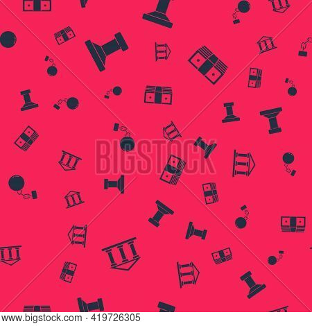 Set Courthouse Building, Stamp, Ball On Chain And Bribe Money Cash On Seamless Pattern. Vector