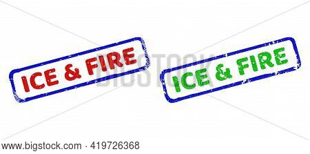 Vector Ice And Fire Framed Watermarks With Grunge Surface. Rough Bicolor Rectangle Seal Stamps. Red,