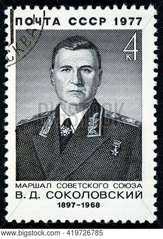 Soviet Union - Circa 1977: A Stamp Printed By The Soviet Union Post Is A Portrait Of V.sokolovsky A