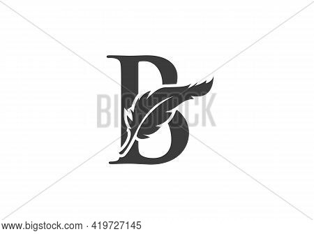 Feather Logo Design  With B Letter Vector. Law Logo With Feather And B Letter