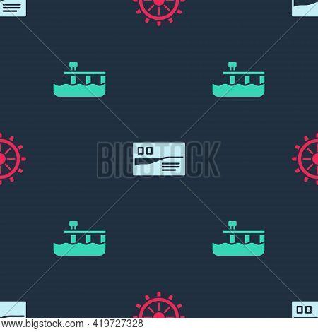 Set Ship Steering Wheel, Postcard Travel And Beach Pier Dock On Seamless Pattern. Vector