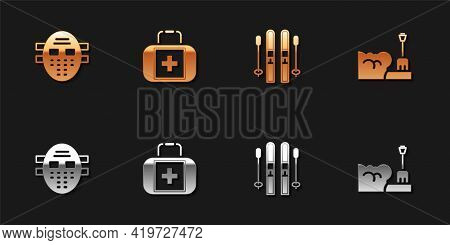 Set Hockey Mask, First Aid Kit, Ski And Sticks And Shovel In Snowdrift Icon. Vector