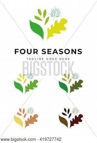 Beautiful Decorative Plant Tree Garden Park Logo In Different Colors Four Seasons Change Identity