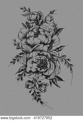 Vintage Roses. Rose Tattoo For Girl. Hand-draw Tattoo. Traditional Art Tattoo. Flower With Leaves. V
