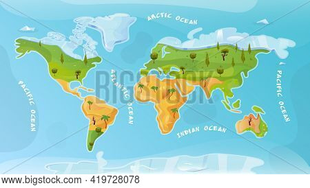 World Map Flat Background With Arctic Pacific Atlantic Indian Ocean Inscription Vector Illustration