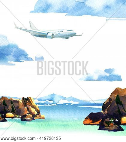 Passenger Airplane In Blue Sky And Cloud, Flying Jet, Airliner Landing Over Paradise Tropical Island