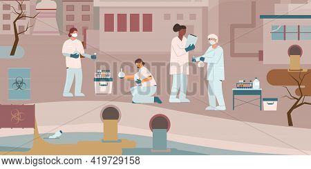 Environmental Protection Biologist Flat Composition With Group Of Scientists Performing Tests Examin