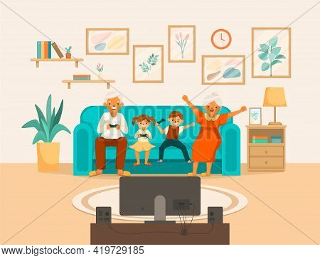 Elderly People Happy Life Cartoon Composition Grandma And Grandpa Play Console Games With Their Gran
