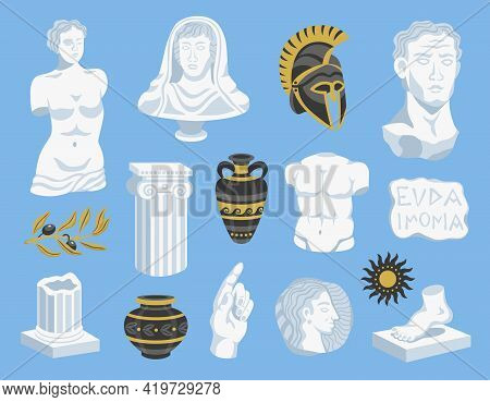 Set Of Isolated Antique Statues And Signs Icons With Images Of Ancient Helmets And Portrait Sculptur