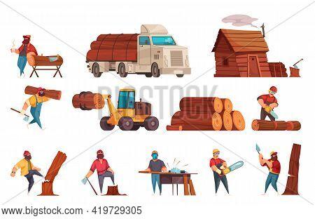 Lumberjack Work Equipment Machinery Cartoon Set With Loggers Sawing Wood Chopping Down Felling Trans