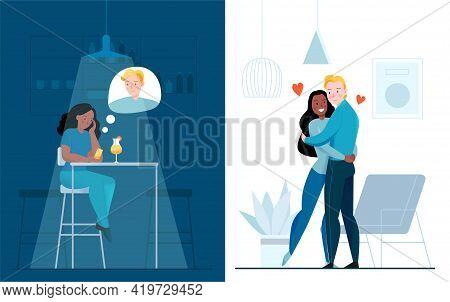 Lonely And Together Love Set With Affection Symbols Flat Isolated Vector Illustration