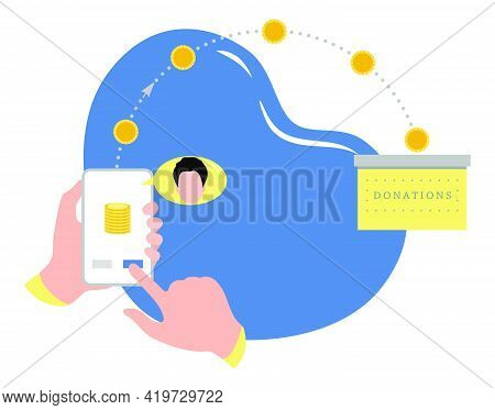 Vector Illustration Hands Hold Cell Phone Online Donation Transfer Mobile Money Transfer Financial O
