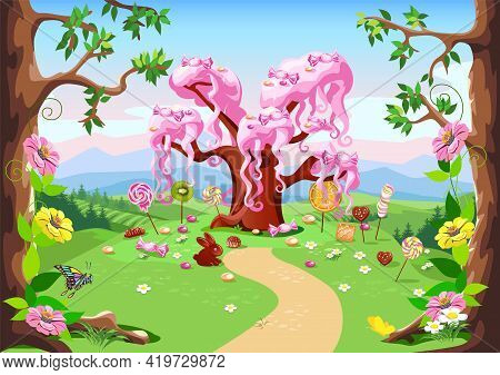 Sweet Tree And Candy Land In A Forest Glade. Fairy Tale Tree Surrounded By Sweets, Candies And Fruit